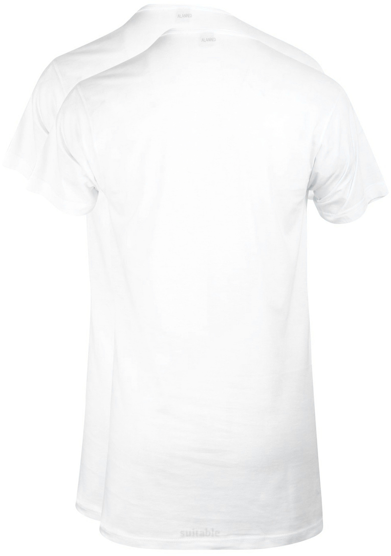 Alan Red Derby Extra Long T-shirt White 2-Pack