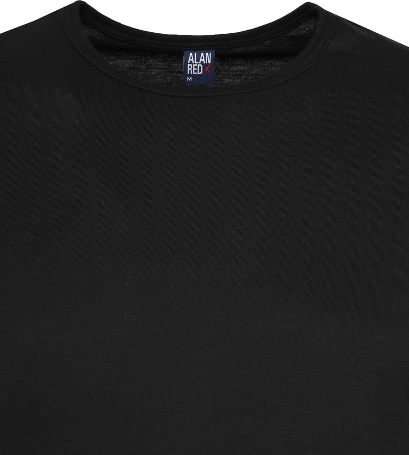 Alan Red Derby O-Hals T-Shirt Black (2Pack)