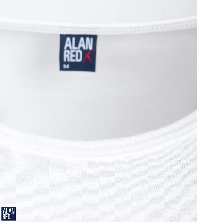 Alan Red Derby O-Hals T-Shirt Wit (2Pack)