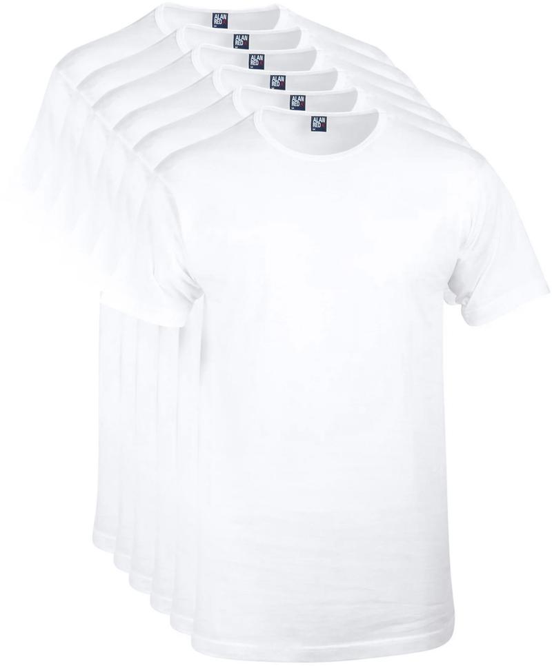 Alan Red Derby O-Hals T-Shirt Wit (6Pack) foto 0