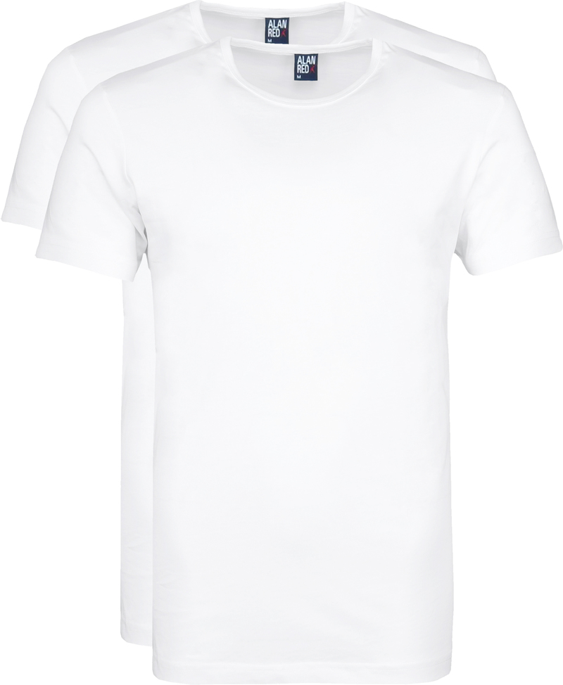 Alan Red Derby Round Neck T-shirt White 2-Pack photo 0