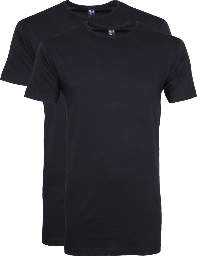Alan Red Extra Lang T-Shirts Derby Navy (2-Pack) Foto 0