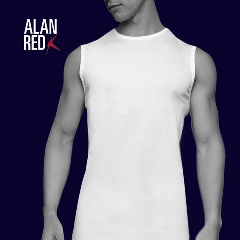 Alan Red Montana Singlet No Sleeves White 2-Pack
