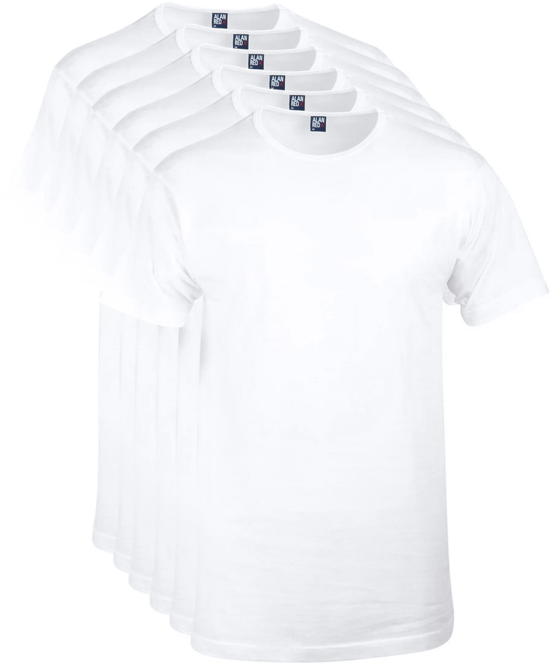 Alan Red Special Offer O-Neck T-shirts White 6-Pack