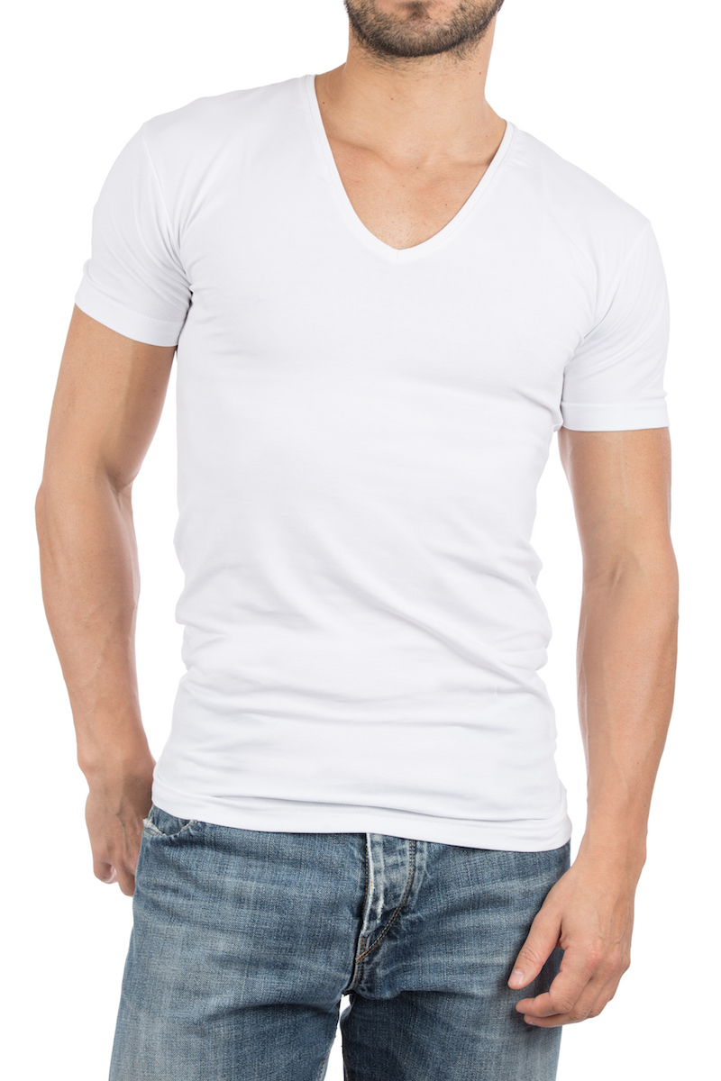 Alan Red T-shirt Deep V-Neck White 2-Pack