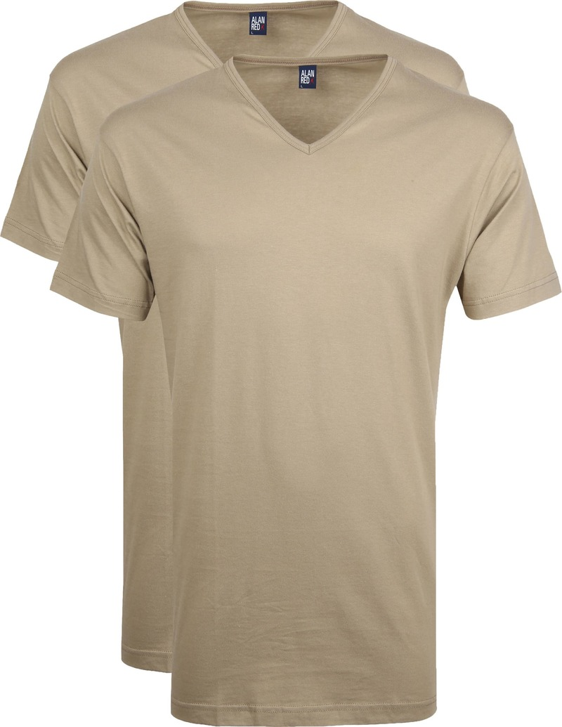 Alan Red Vermont T-Shirt V-Neck Khaki (2Pack) photo 0