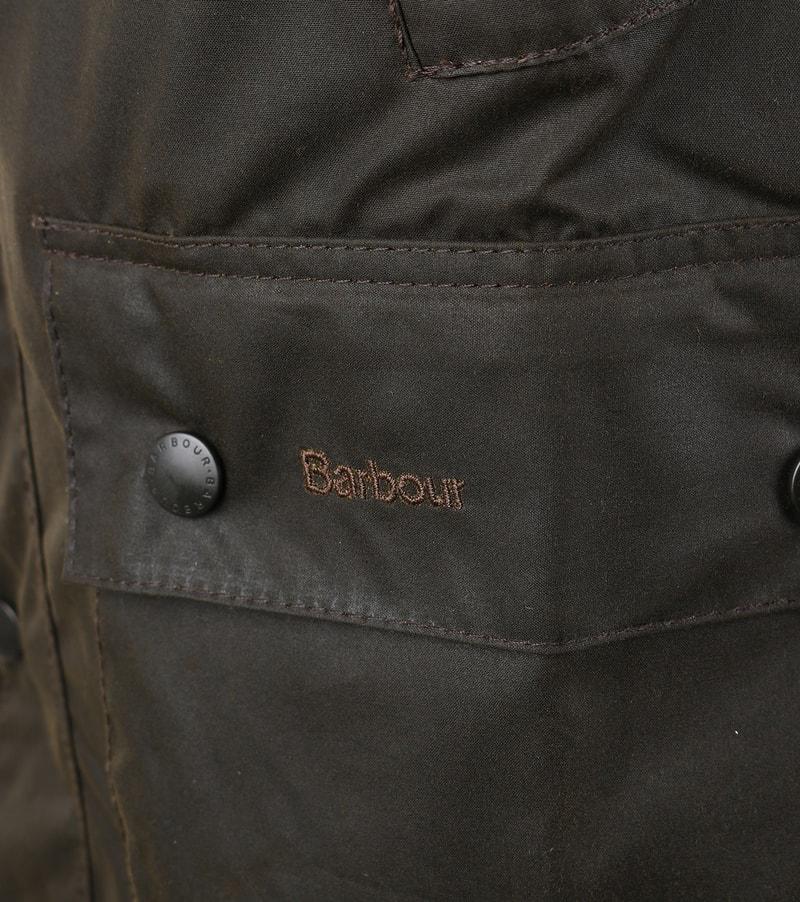 Detail Barbour Bedale Wax Jas Olijfgroen