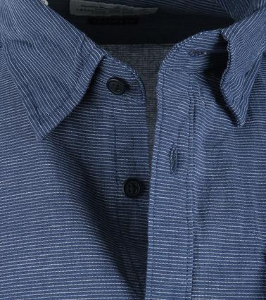 Detail Barbour Brock Shirt Donkerblauw Streep