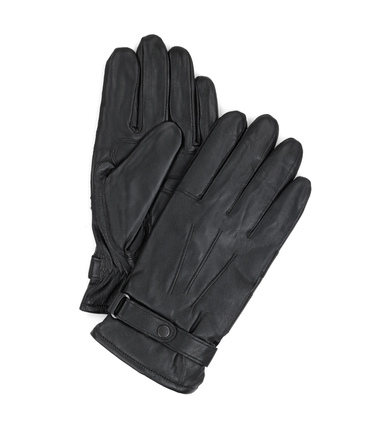 Detail Barbour Handschoenen Glad Leer Zwart