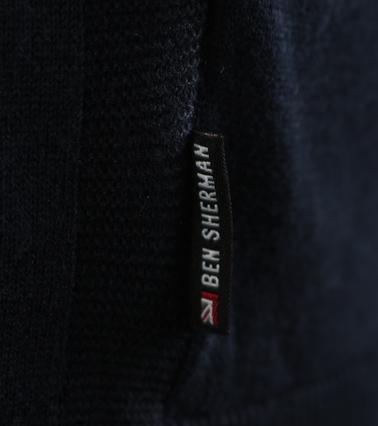 Detail Ben Sherman Longsleeve Polo Donkerblauw