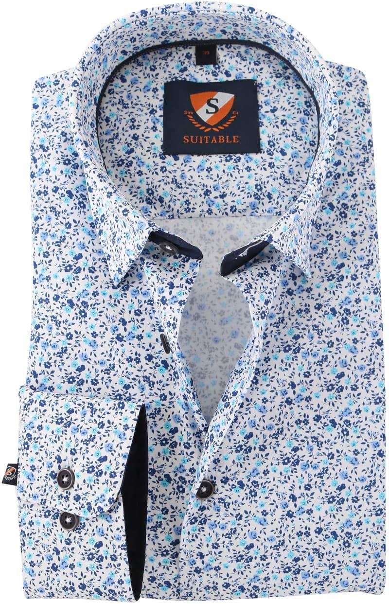 Blauw Bloemetjes Overhemd 154-6  online bestellen | Suitable