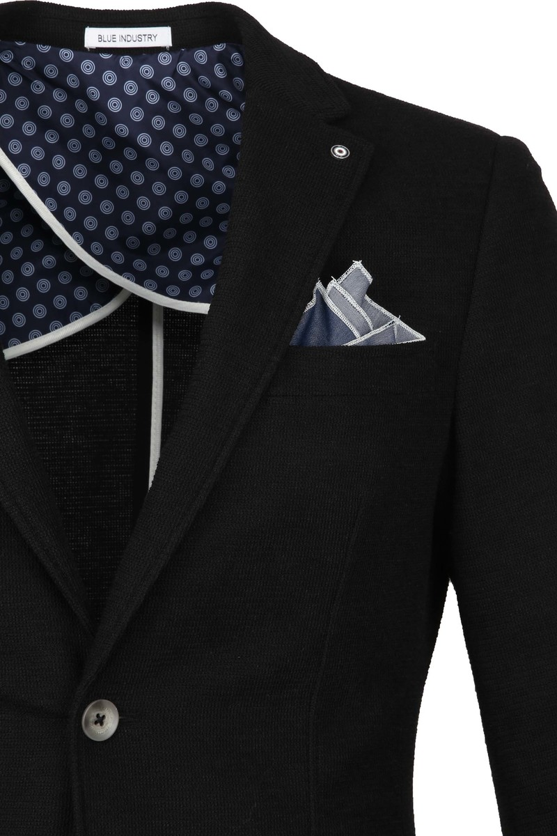 Blue Industry Colbert Pocket Square Black
