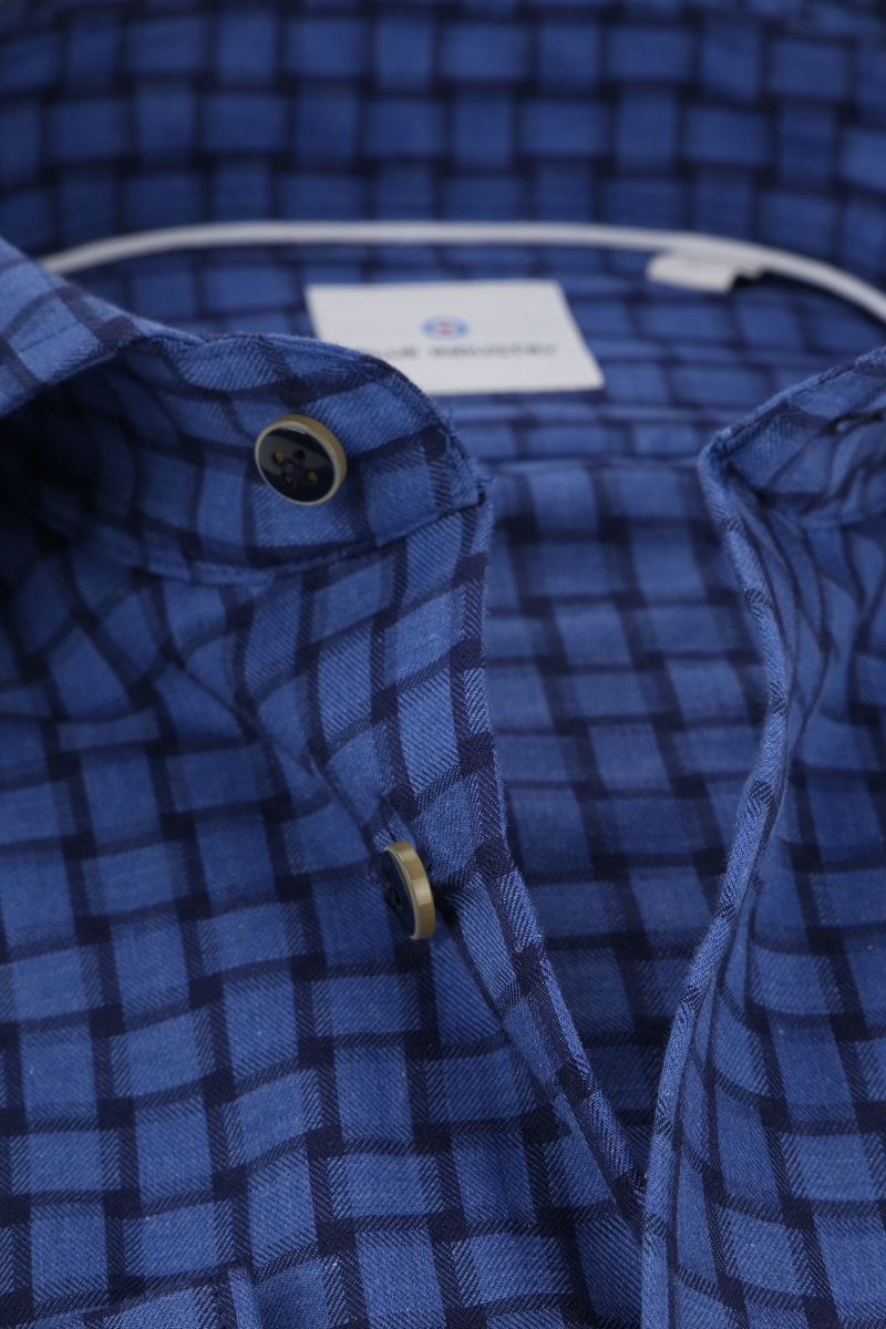 Blue Industry Overhemd Blauw Ruiten - Blauw maat 38