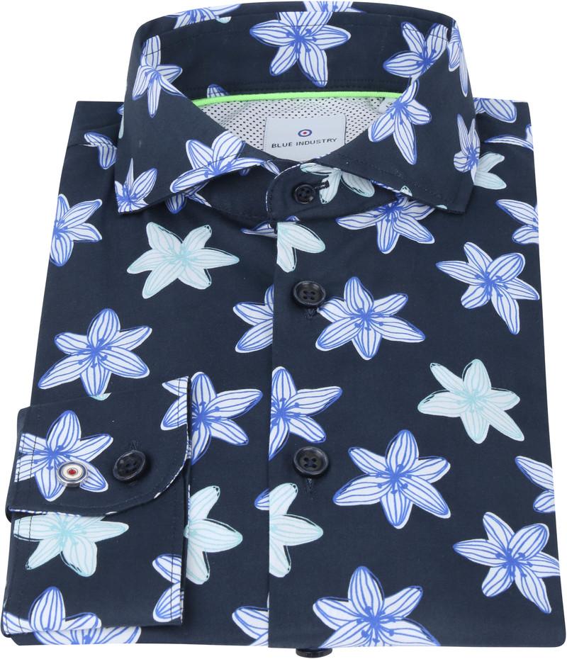 Blue Industry Overhemd Bloemen Donkerblauw