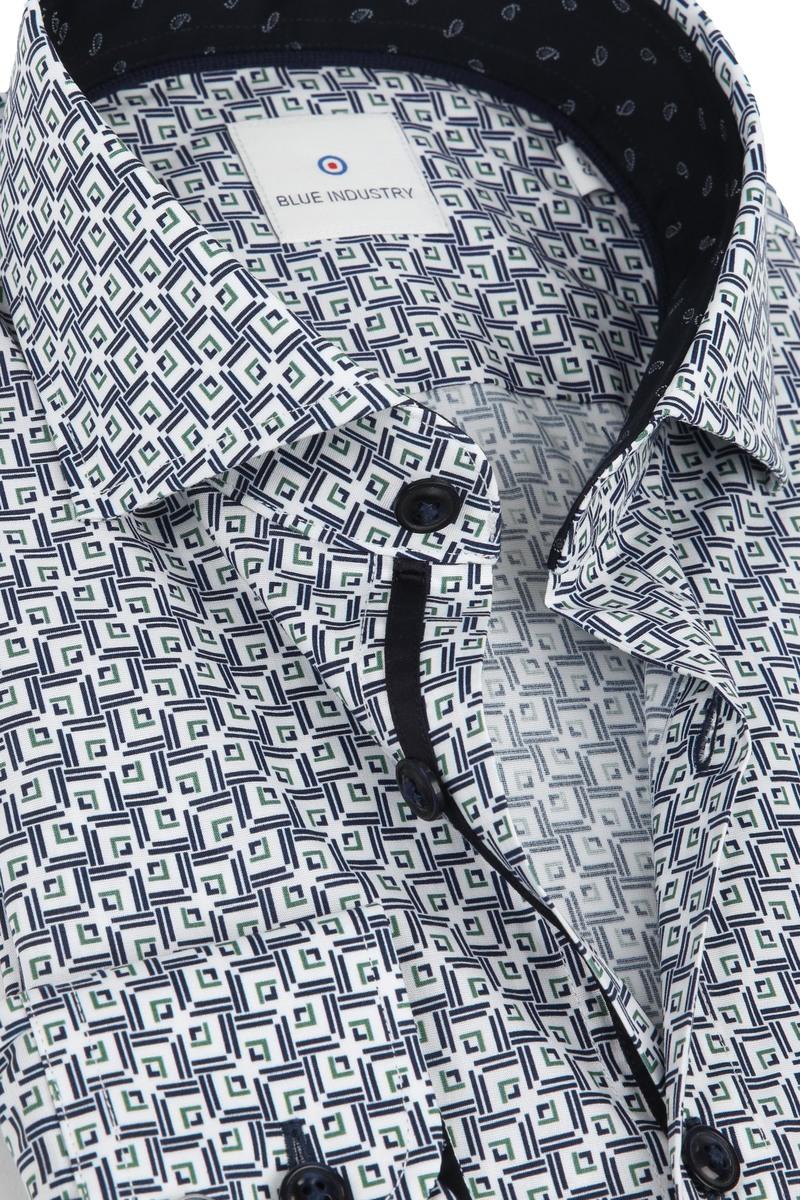 Blue Industry Overhemd Dessin Wit foto 1