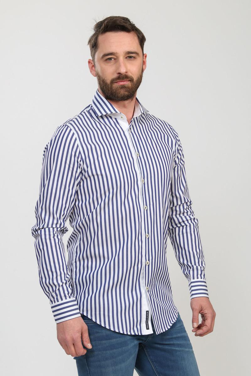 Blue Industry Overhemd Strepen Blauw Wit
