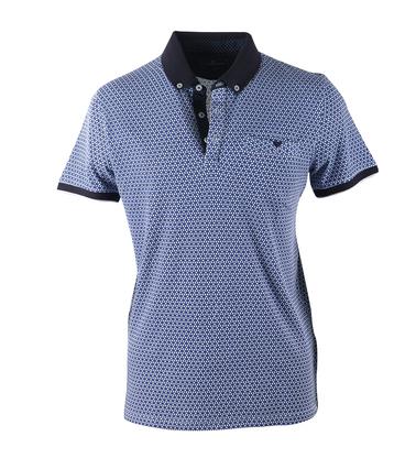 Blue Industry Polo Blauwe Print  online bestellen | Suitable