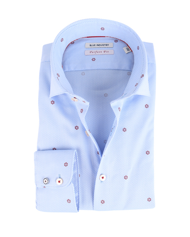 Blue Industry Shirt Blauw met Rode Print  online bestellen | Suitable