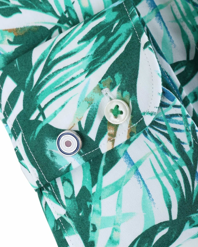 Detail Blue Industry Shirt Floral Green