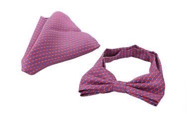 Bow Tie Silk + Pocket Sqaure Blue Pink photo 1