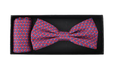 Bow Tie Silk + Pocket Sqaure Blue Pink photo 2