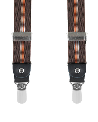 Brown Suspenders X Shape Striped