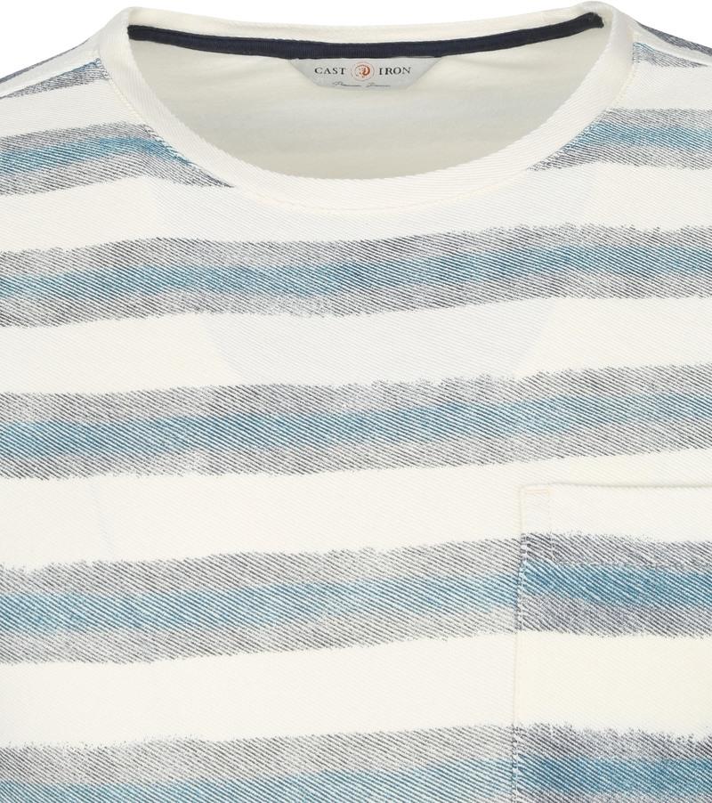 Cast Iron Polo Shirt Strepen Groen - Beige maat 3XL