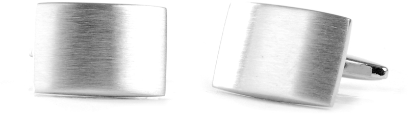 Cufflinks Rectangle Silver Matt
