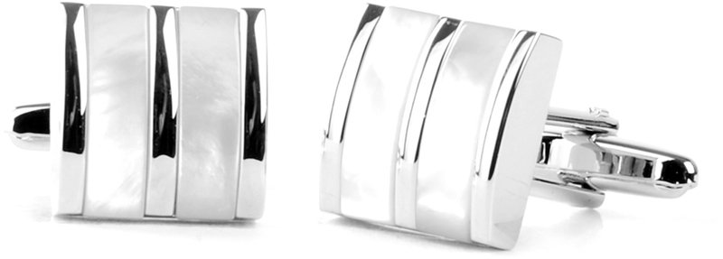 Cufflinks Silver + White Lanes photo 0