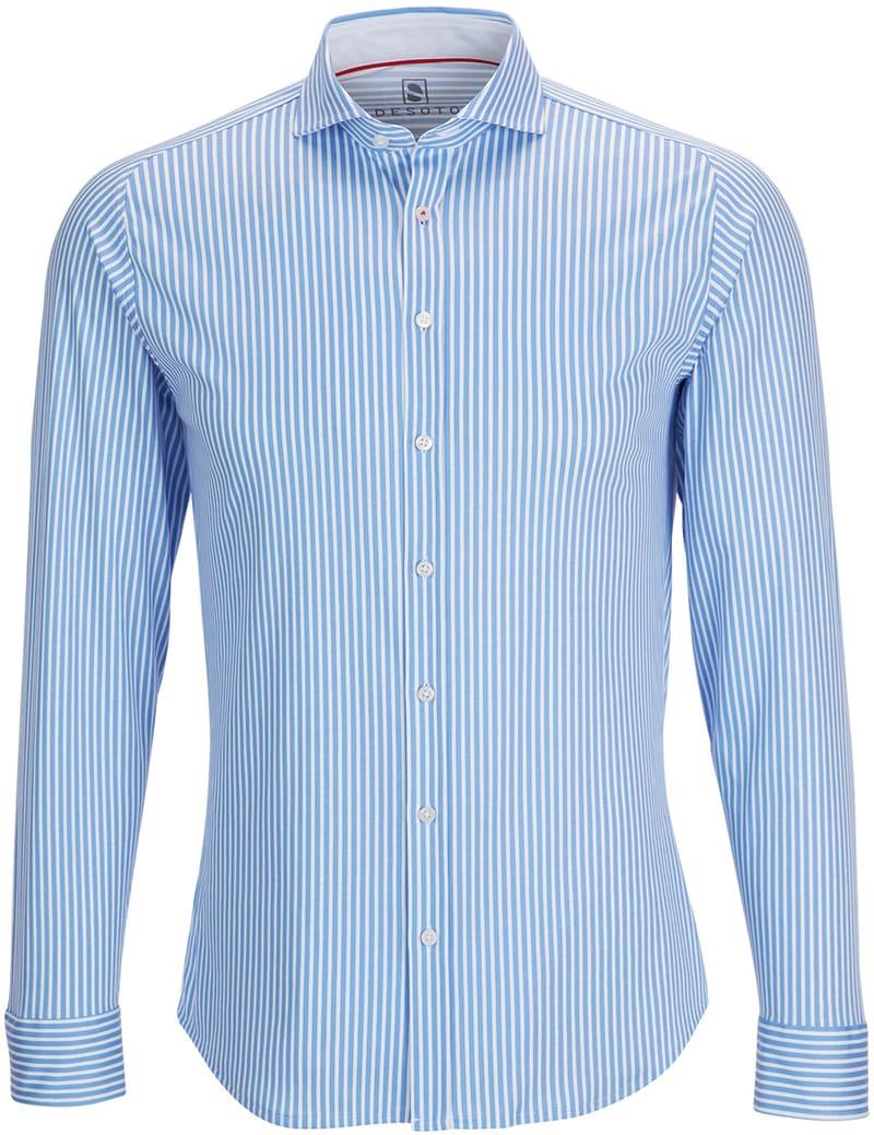 Desoto Overhemd Strijkvrij Blauw Streep foto 0