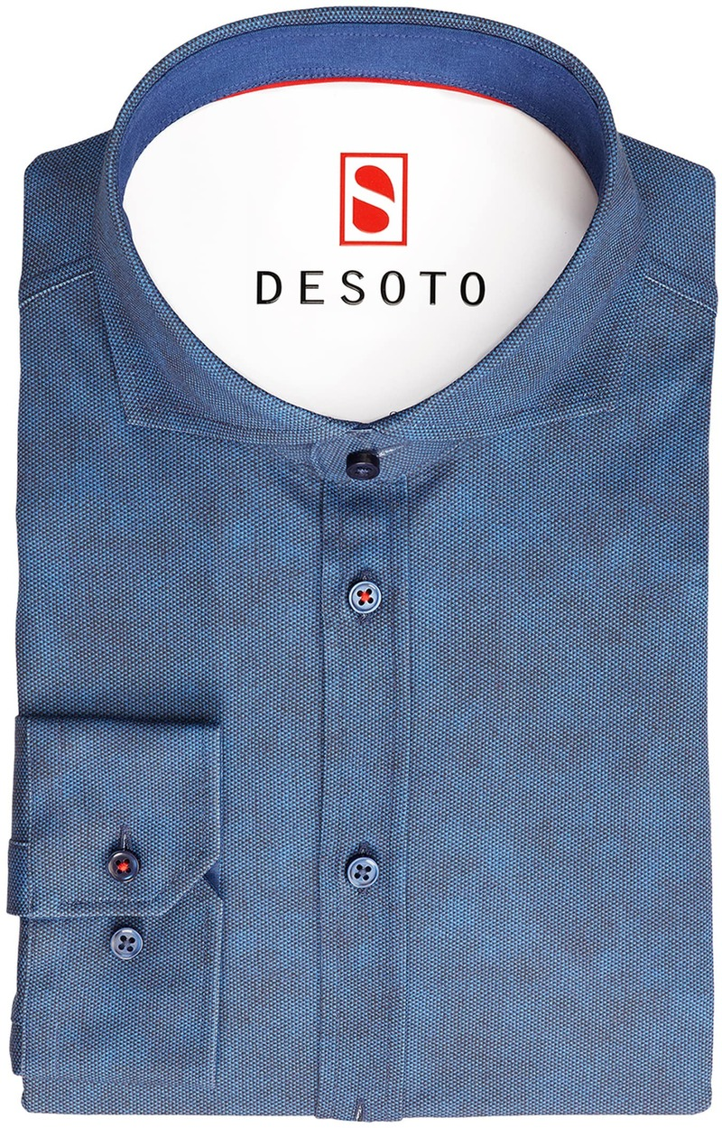 Desoto Overhemd Strijkvrij Donkerblauw Oxford foto 2