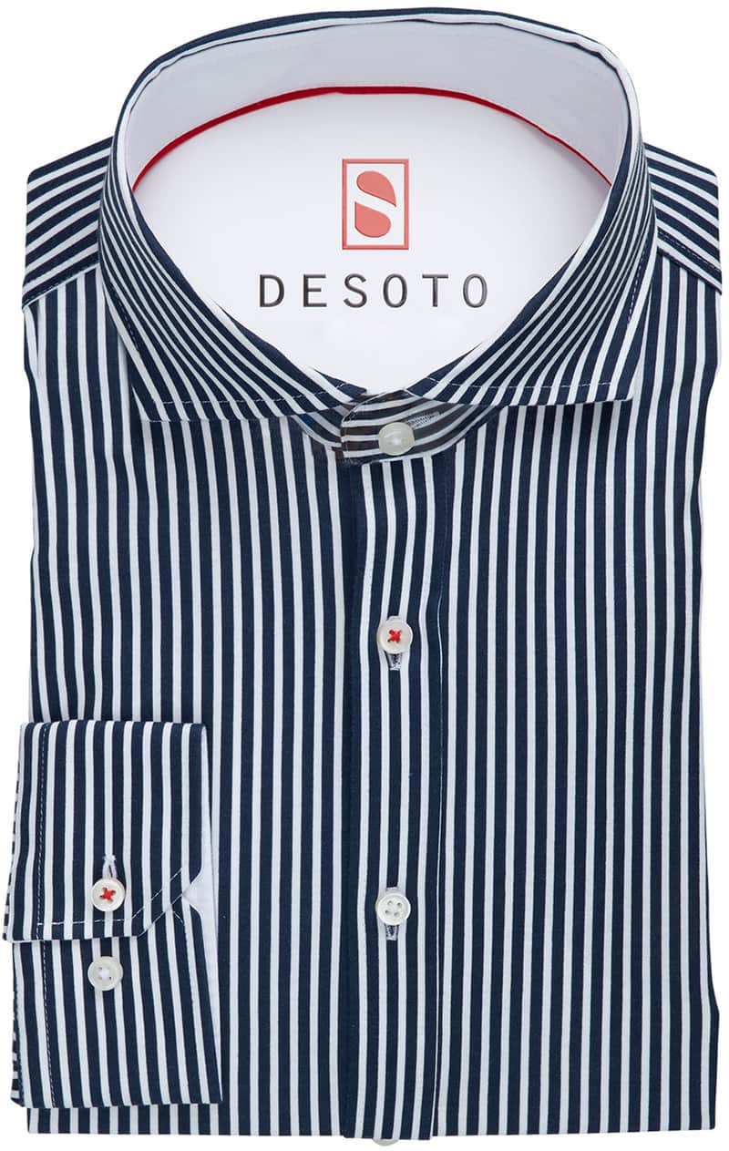 Desoto Overhemd Strijkvrij Donkerblauw Streep foto 2