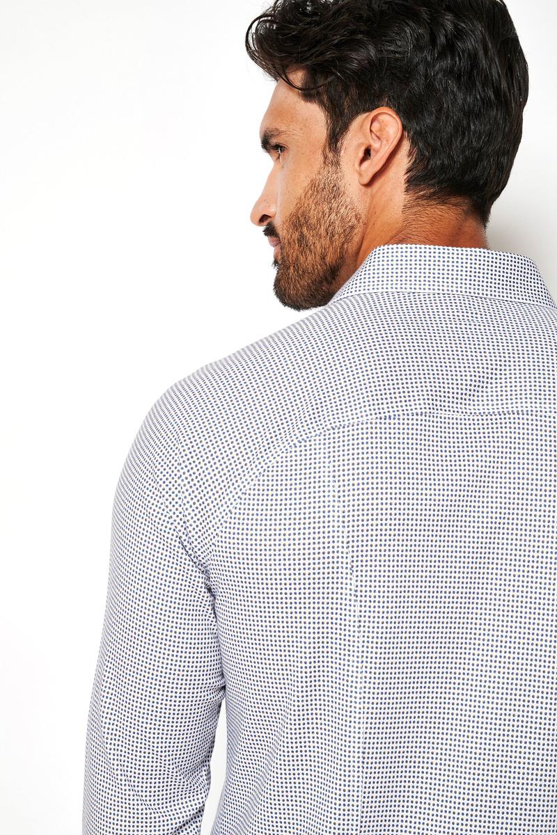 Desoto Overhemd Strijkvrij Stippen 804 - Wit maat XS