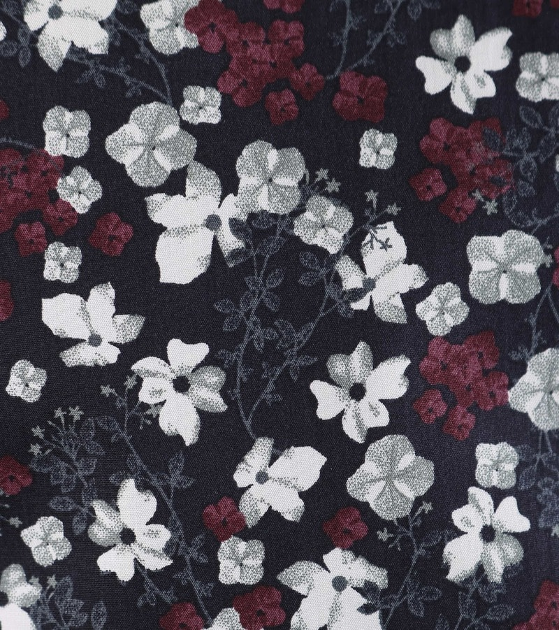 Detail Dstrezzed Overhemd Bloemetjes Donkerblauw