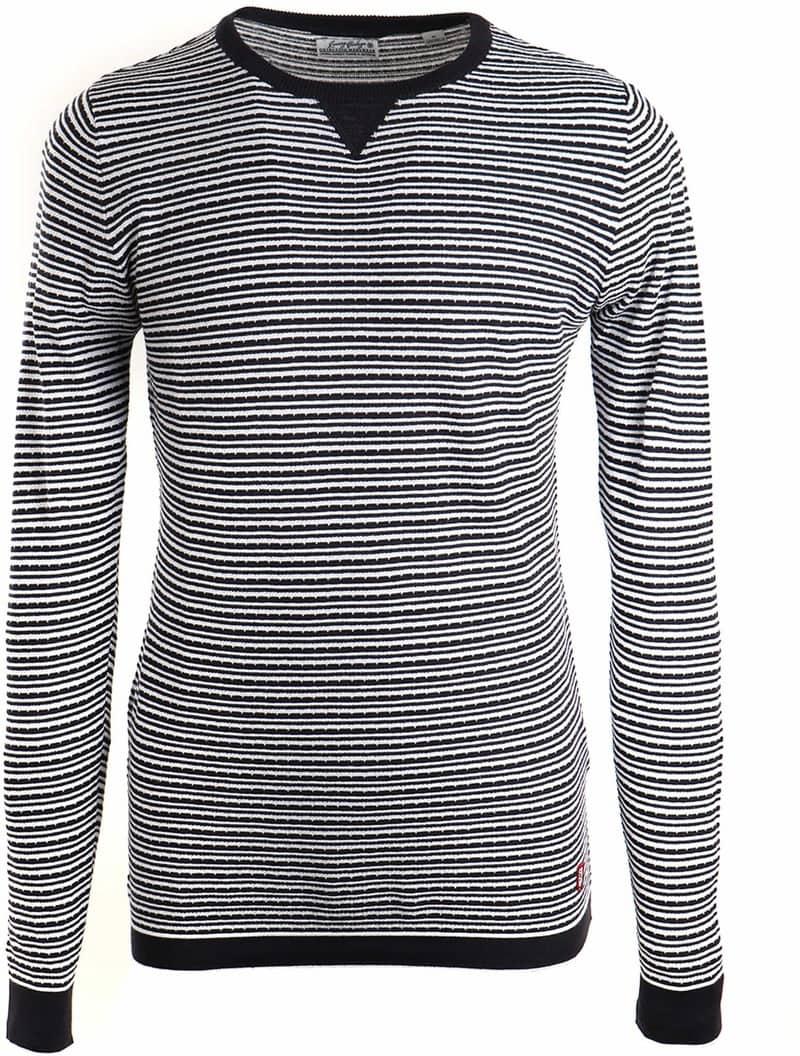 Dstrezzed Sweater Streifen Dunkelblau Weiß 404081 49 2