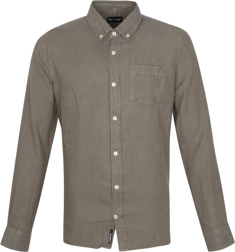 Ecoalf Malibi Overhemd Khaki - Khaki maat XXL