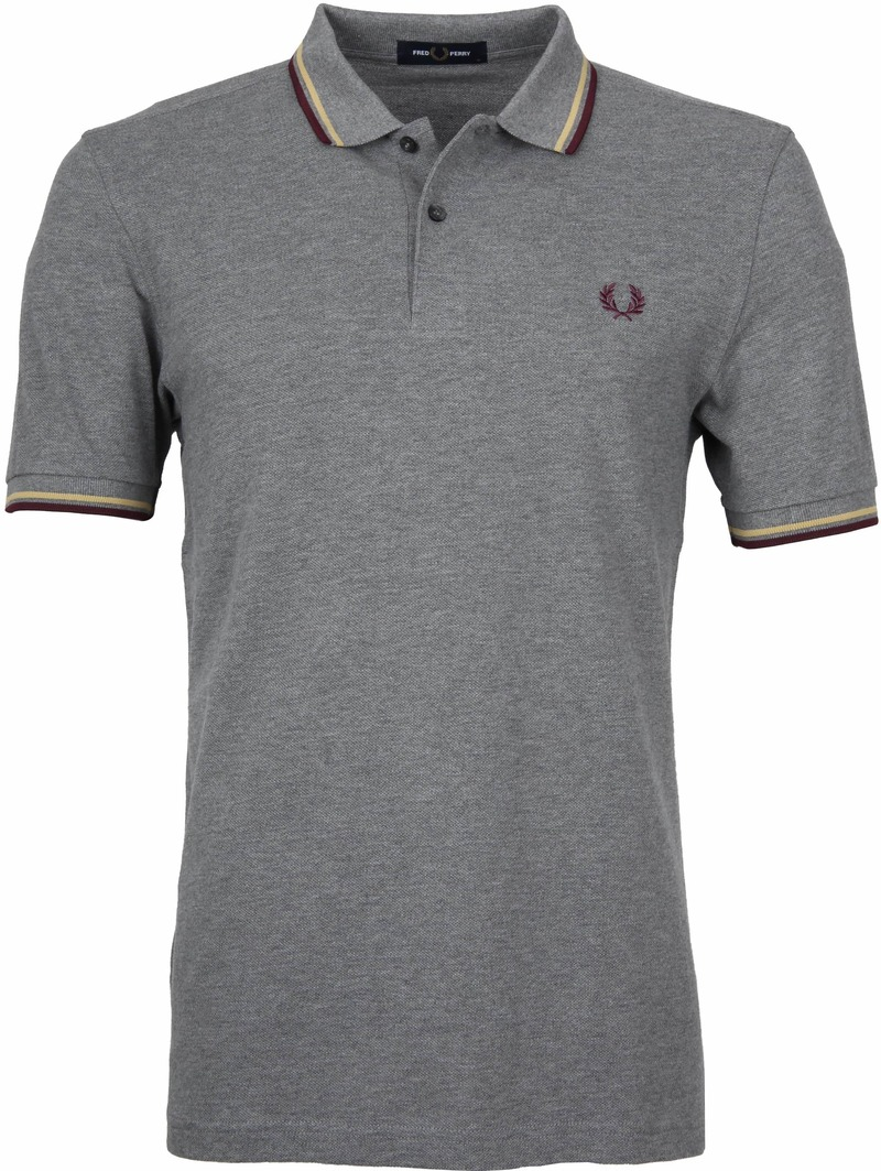 Fred Perry Polo Grijs Bordeaux foto 0