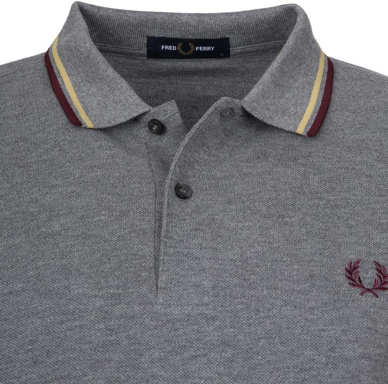 Fred Perry Polo Grijs Bordeaux foto 1