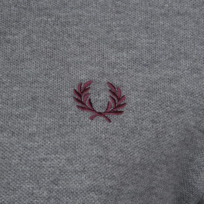 Fred Perry Polo Grijs Bordeaux foto 2