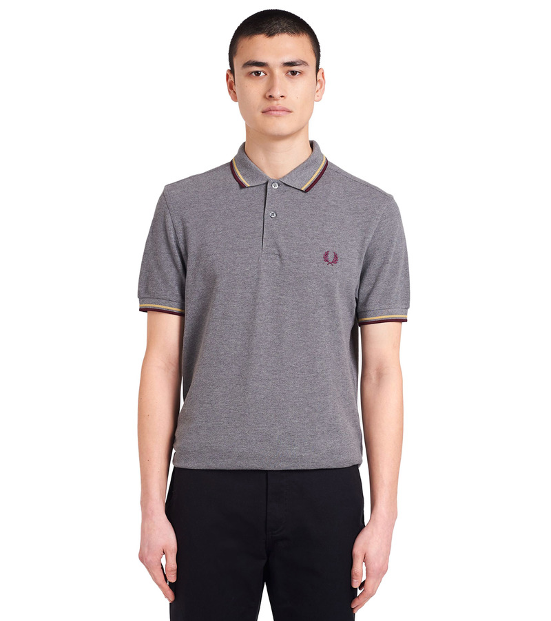 Fred Perry Polo Grijs Bordeaux foto 4