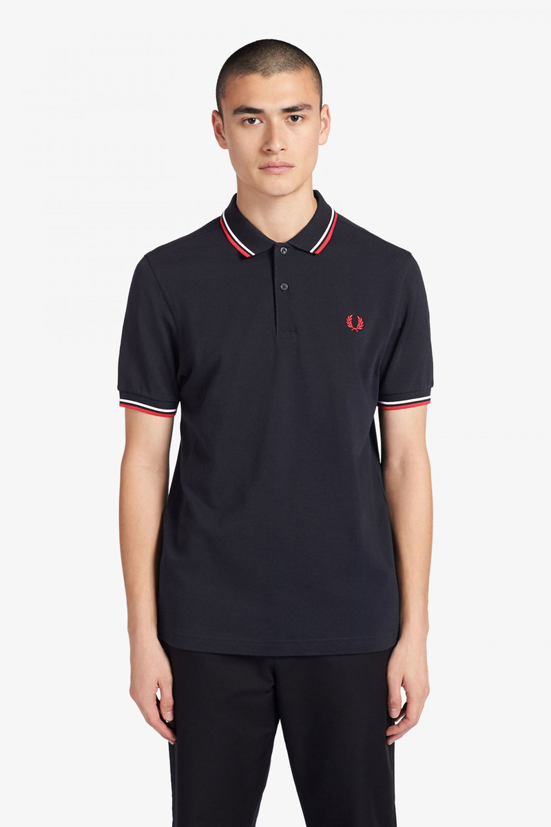 Fred Perry Polo Shirt Navy White Red