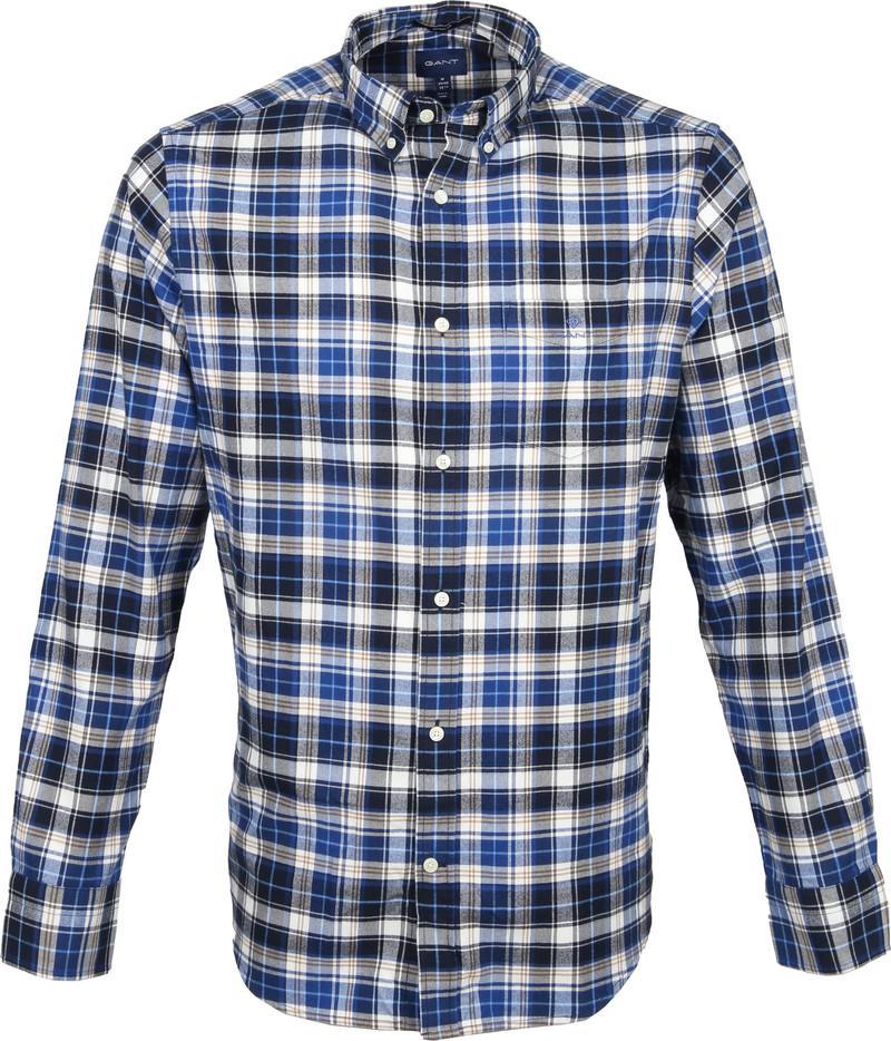 Gant Casual Overhemd Geblokt Blauw foto 0