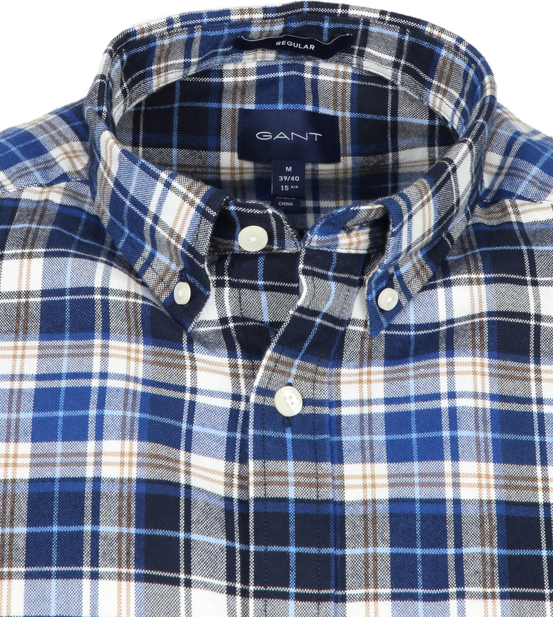 Gant Casual Overhemd Geblokt Blauw foto 1