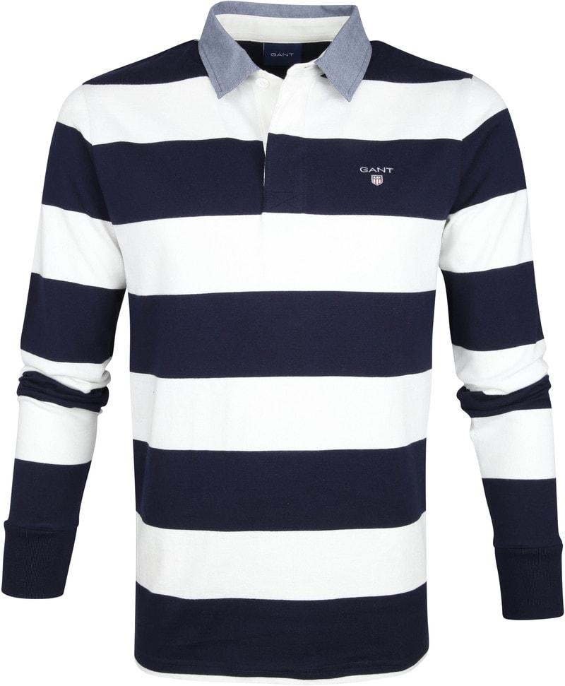 Gant Polo Poloshirt Rugger Blauw Wit Strepen