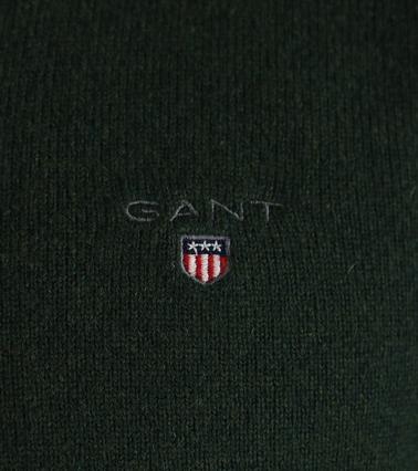 Detail Gant Pullover Lamswol Donkergroen