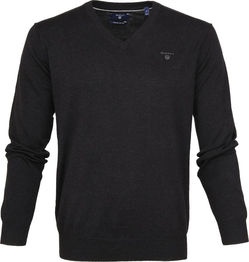 Gant Pullover Premium V-Ausschnitt Dunkelgrau Foto 0