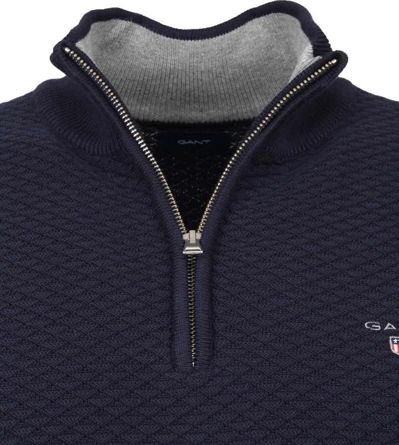 Gant Zip Sweater Donkerblauw - Donkerblauw maat 3XL