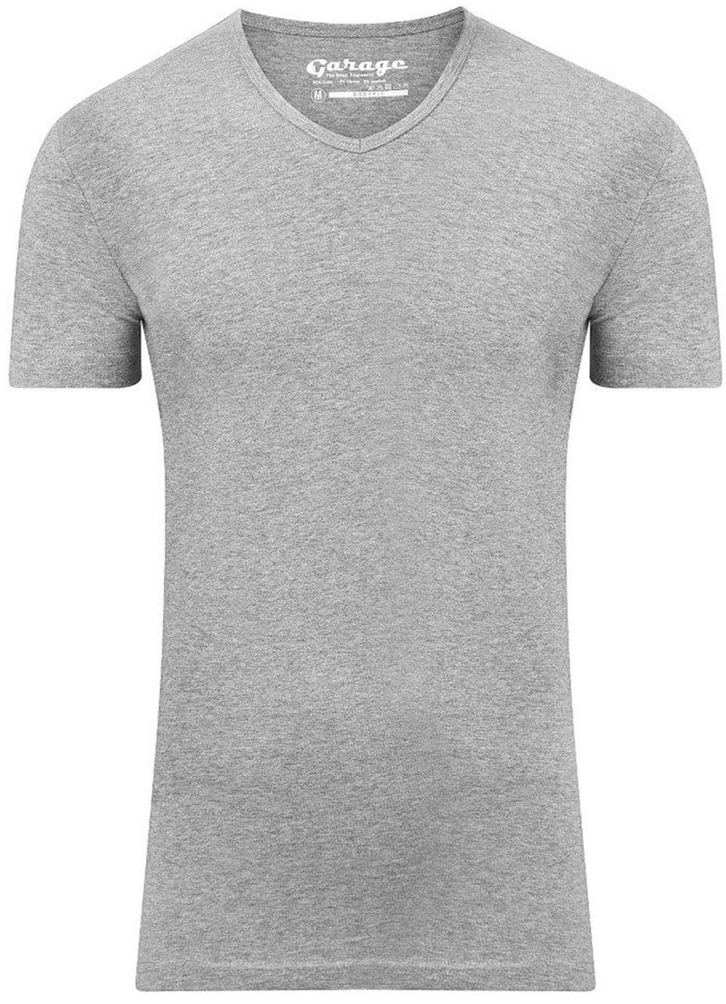 Garage Stretch Basic T-Shirt Grau V-Ausschnitt Foto 0