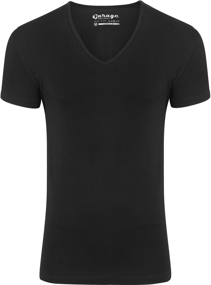Garage Stretch Basic T-Shirt Schwarz V-Ausschnitt Foto 0