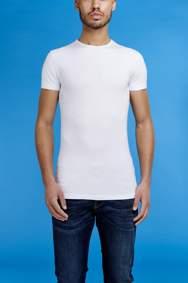 Garage Stretch Basic T-Shirt Weiss Rundhals Foto 1